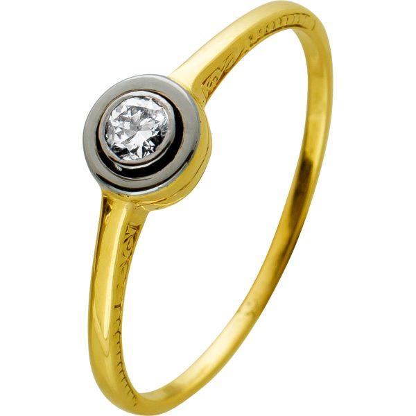 Antiker Brillant Ring 1950 Top Zustand, Gelbgold585,1 Brillant 0,10ct W/SI, Zargen gefasst, Gr. 17,7mm
