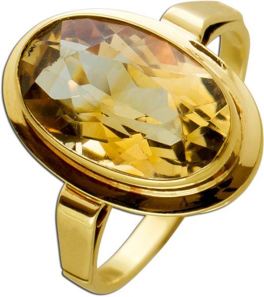 Antiker Citrin Ring Gelbgold 585 Cognacfarbener Edelstein Um 1930 TOP Zustand