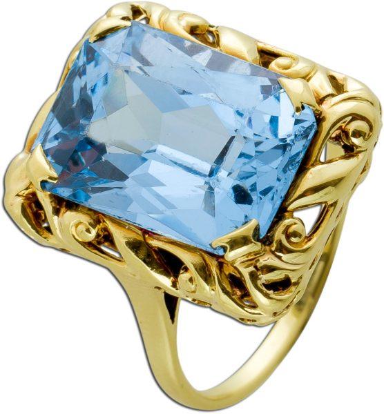 Antiker Blautopas Ring Gelbgold 585 Synthetischer Edelstein Um 1920 TOP Zustand