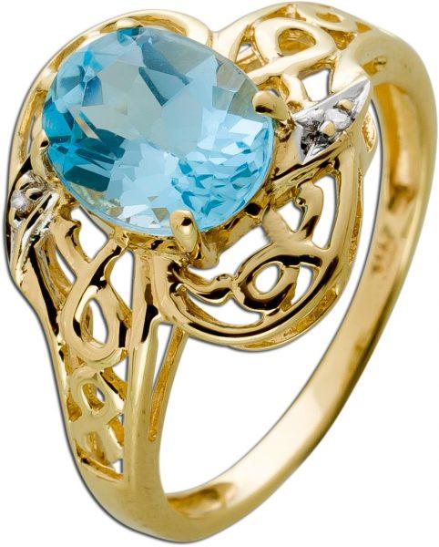 Antiker Blautopas Diamant Ring Gelbgold 333 Edelsteine W/P1 0,04 Carat Um 1950 TOP Zustand