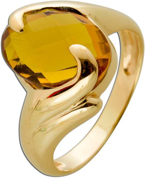 Antiker Bernstein Ring Gelbgold 333 Orange Cognacfarben Edelstein Cabochonschliff Um 1970 TOP Zustand