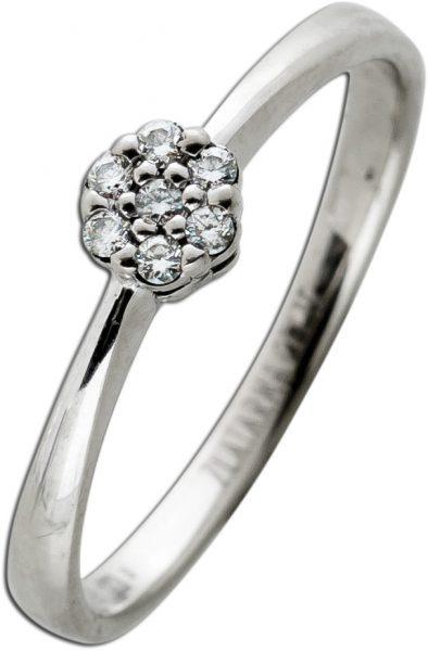 Designer Brillant Ring Weissgold 585 7 Brillanten TW/VSI 0,07 Carat Zlatarna Celje