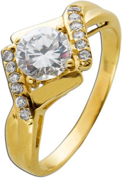 Zirkonia Ring Gelbgold 585 13 Zirkonia Brillantenlook
