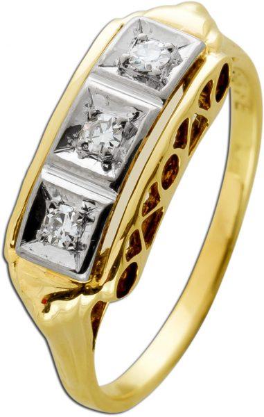 Antiker Diamant Ring Gelbgold 585 TW/VSI 0,10 Carat Um 1900 TOP Zustand