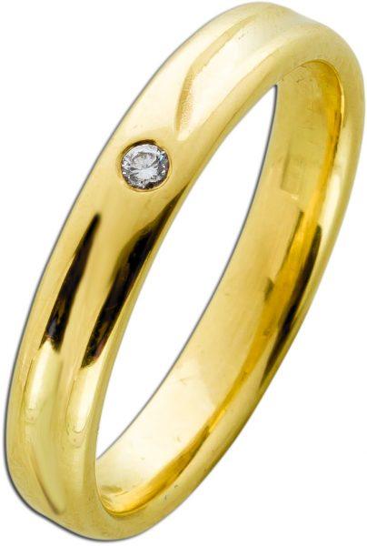Exklusiver Brillant Ring Gelbgold 585 TW/VVSI 0,025 Carat