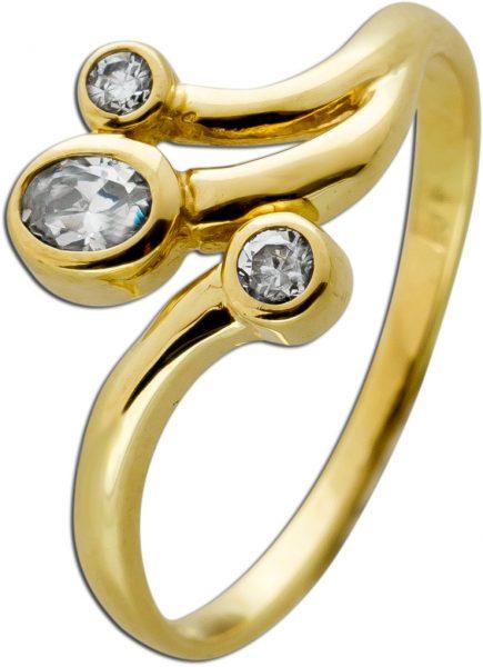 Ring Gelbgold 333 3 Zirkonia Brillantlook