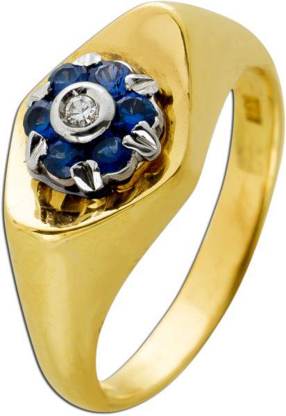 Antiker Diamant Saphir Ring Gelbgold 750 6 Azurblaue Saphire TW/SI 0,02 Carat Um 1950 Sehr Guter Zustand
