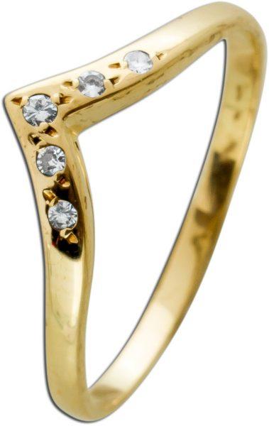 Brillant Ring Gelbgold 333 5 Brillanten W/SI 0,075 Carat