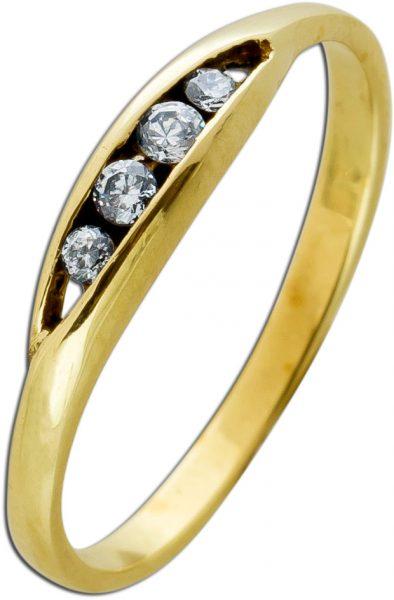 Ring Gelbgold 333 4 Zirkonia Brillantlook