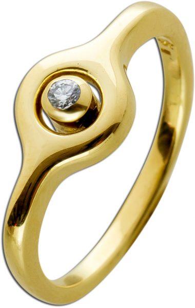 Antiker Brillant Ring Gelbgold 585 TW/VSI 0,07 Carat Um 1950 TOP Zustand