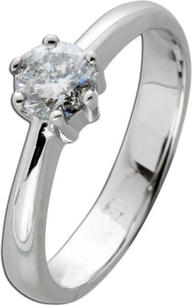 Brillantring Diamantring Solitär Brillant 0,56ct Weissgold 585 Gr. 17,5mm, mit Görg Zertifikat