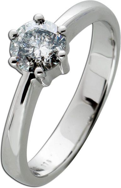 Brillantring Diamantring Solitär 0,78ct Weissgold 585 Brillant Gr. 17,5mm, mit Görg Zertifikat