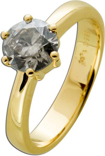 Brillantring Diamantring Solitär 1,50ct Gelbgold 585 Gr. 17,5mm, mit Görg Zertifikat