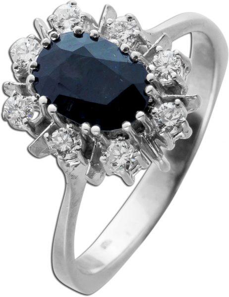 Antiker Saphir Brillant Ladi Di Ring Weissgold 585 funkelnde Brillanten Saphir Edelstein in feinster Qualität 1960 Neu mit Görg Zertifikat