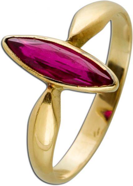 Antiker Gelbgold 585 Ring um 1850 1 Synthetischer Rubin Navettenschliff Gr. 16mm