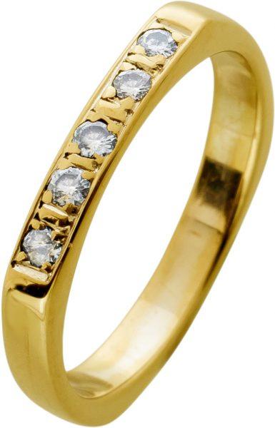 Antiker Gelb Gold Diamantring 585 Ring 5 Brillanten 0,15ct W/SI Gr.17mm