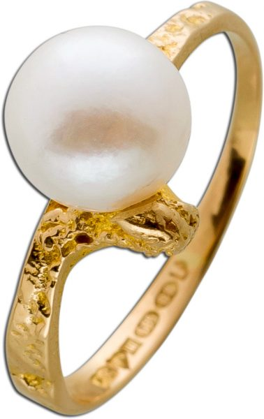 Ring Gelb Gold 585 Original Lapponia Ring 1 feine Akoyaperle Gr.17,2mm