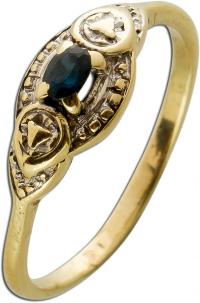 Antiker Edelsteinring 1950 Gelbgold 333 Ring 1 Saphir Gr. 16,5mm