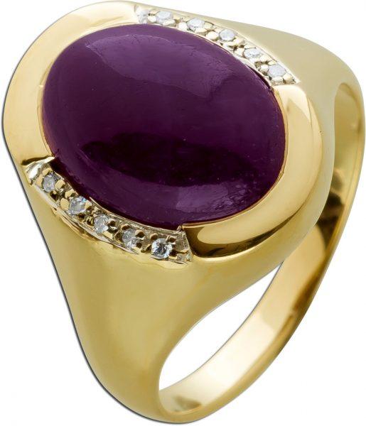 Ring Gelbgold 750 10 Diamanten 0,10ct W/I1 Rubin Edelstein