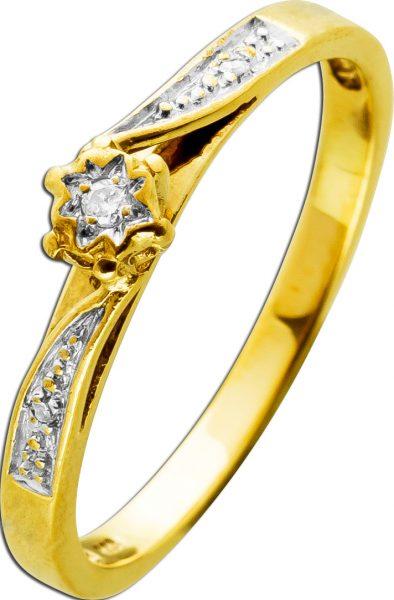 Antiker Brillant Diamant Ring Gelbgold 333 1 Brilliant 0,025ct TW/SI 2 Diamanten 0,01ct W/J1 Vintage 1970 19mm