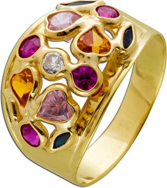 Designer Edelstein Ring Gelbgold 333 8 Karat bunte Edelstein Synthesen Citrin Rubin Saphir 17mm