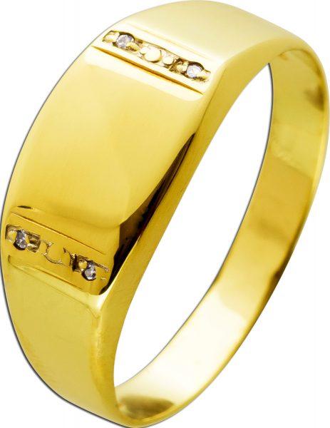 Antiker Diamant-Gravur-Ringum 1920 Gelbgold 585 4 Diamanten 14 Karat