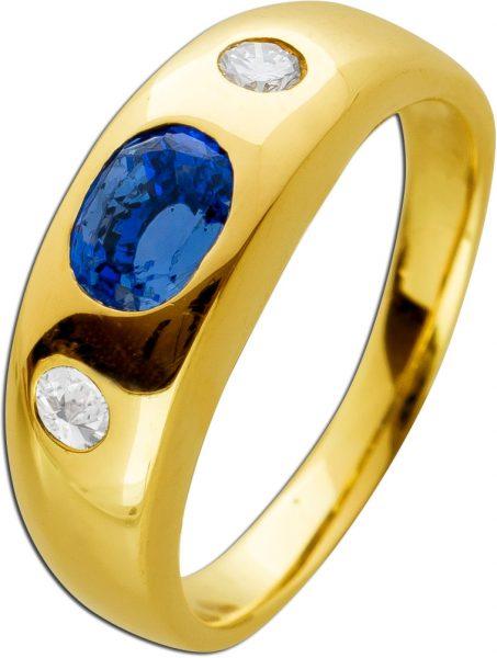 Antiker Saphir Brillantring Ring 1960 Gelbgold 585 blauer Saphir 0,60ct. 2 Brillanten 0,16ct. TW/VVS Klassischer Bandring Größe 17mm änderbar