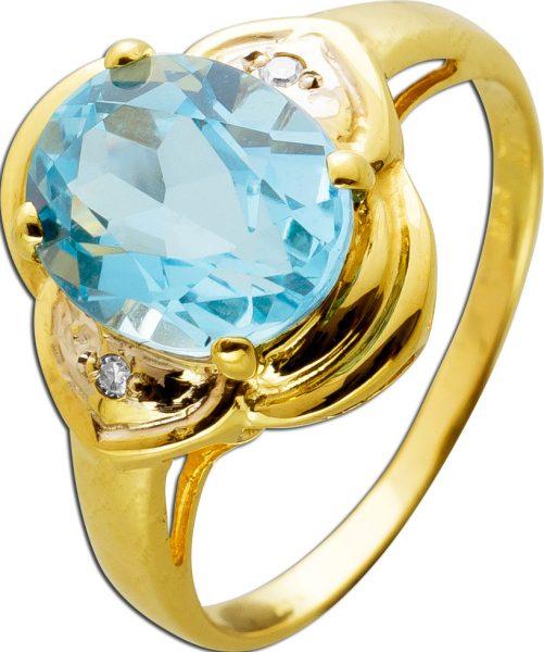 Antiker Ring Gelbgold 14 Karat 585 1 Blautopas Edelstein 2 Diamanten 8/8 W/SI 0,02ct Vintage 1960 17mm