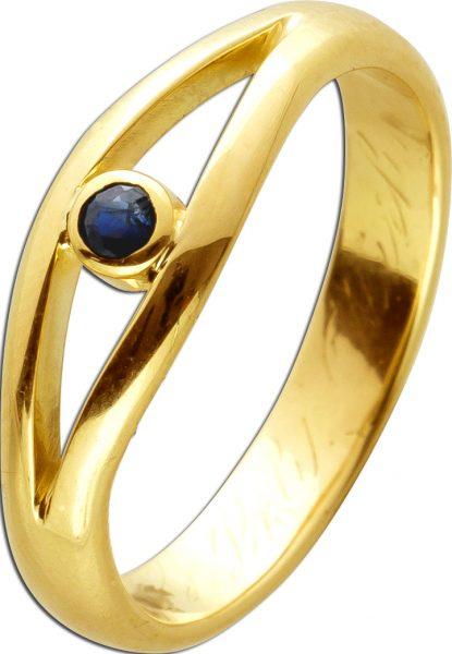 Antiker Edelstein Ring um 1920 Gelbgold 585 14 Karat 1 Saphir Edelstein Saphirring Goldring 18mm