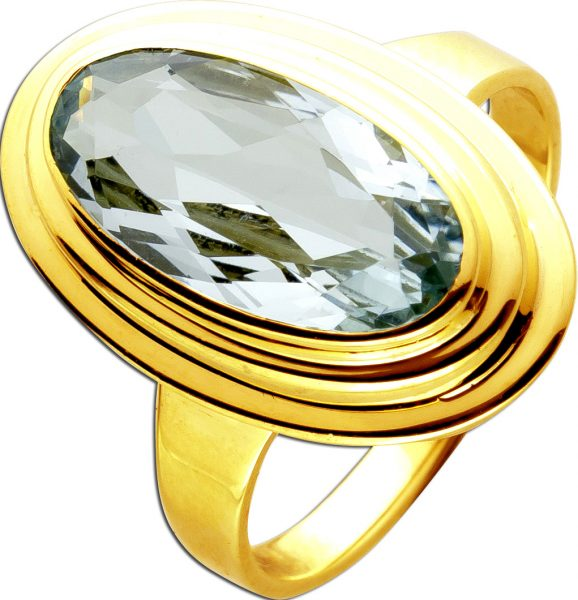 Antiker Ring um 1930 Gelgold 14 Karat 585 1 Blautopas Edelstein Goldring Edelsteinring 18mm