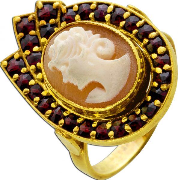Antiker Achat Granat Edelstein Kameen Ring vergoldetes Silber böhmische Granat Edelsteine Vintage 1900 18mm