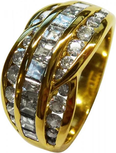 Damenring in Gelbgold 750/- mit 40 Brillanten 1,34ct TW/VVS
