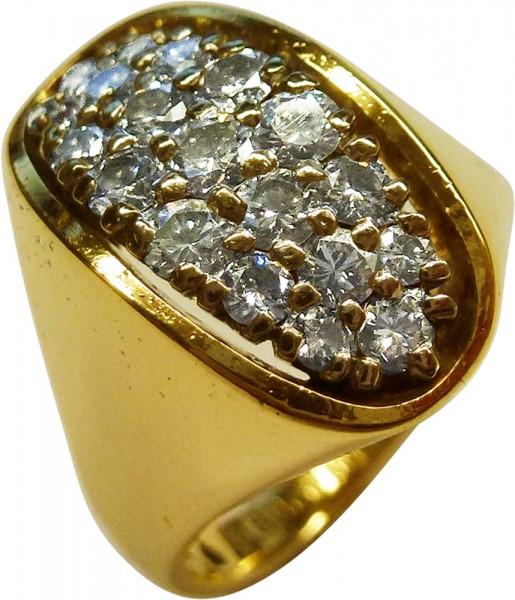 Damenring in Gelbgold 750/- mit 19 Brillanten 0,80ct TW/VVS