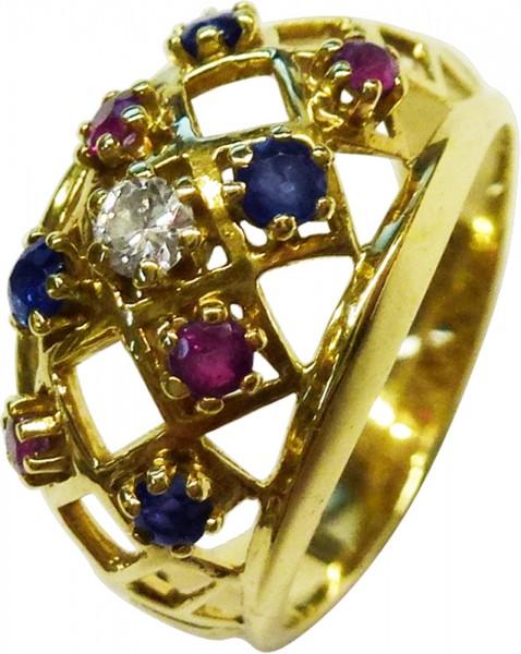 Ring in Gelbgold 585/- mit Rubin, Safir und einem Brillant 0,03ct W/SI