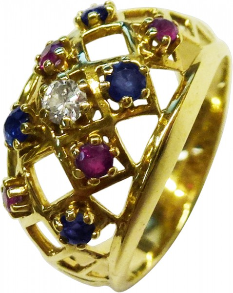 Ring in Gelbgold 585/- mit Rubin, Safir ...