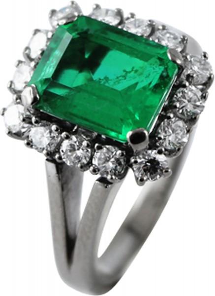 Ring Weissgold 585 mit Brillanten und einer Smaragd Dublette