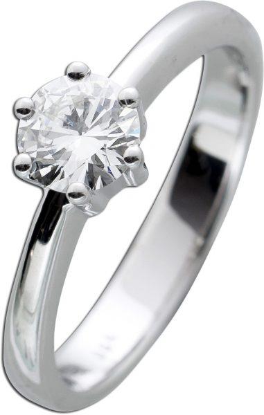 Diamantring Gold 585 Brillant 0,64ct TW / VVS2 IGI zertifiziert