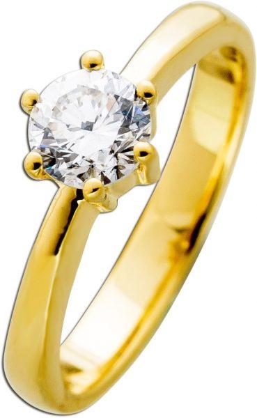 Diamantring Gold 585 Brillant 0,62ct TW F / VVS1 IGI zertifiziert