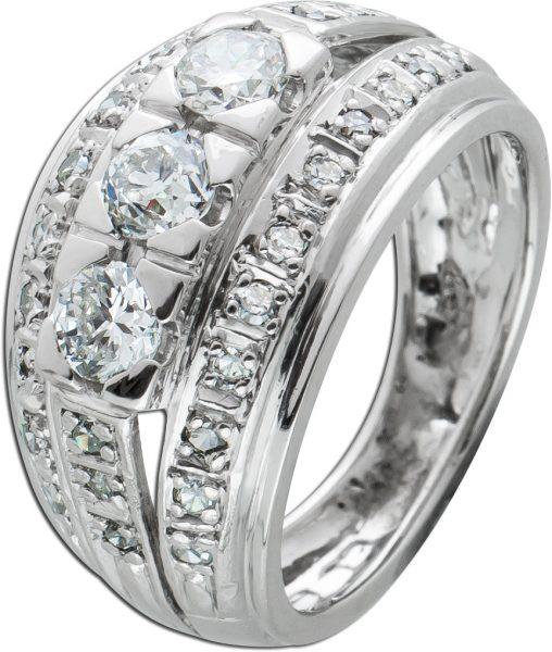 Antiker Diamant Ring Weissgold 585 3 Brillanten Diamanten zus. 1,0ct TW/SI, Gr. 15,7mm aus den 70er Jahren, Top Zustand,