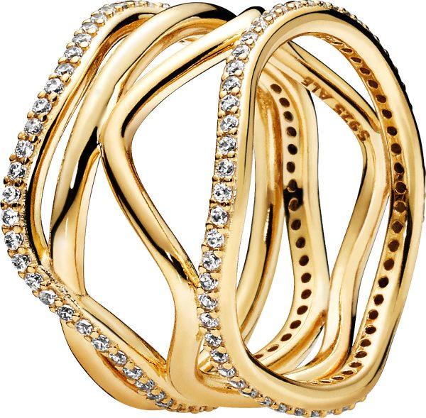 PANDORA Ring Sale 168631C01 Swirling Lines SHINE Metall vergoldet 18kt Zirkonia 168272CZ