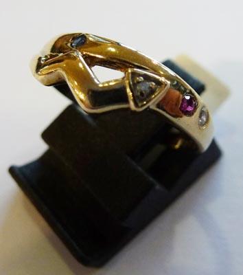 Ring aus feinem Gelbgold 333/-, besetzt ...