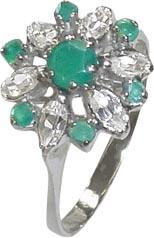 Hochwertiger Ring in Größe 18,2mm in Weißgold 750/- besetzt mit 7 Smaragde und 6 Zirkonia Masße: Ringkopfbreite: 13mm. In Premiumqualität von Deutschlands günstigstem und größtem Schmuckverkäufer, Ihrem Vetrauenjuwelier seit 1949 aus Stuttgart