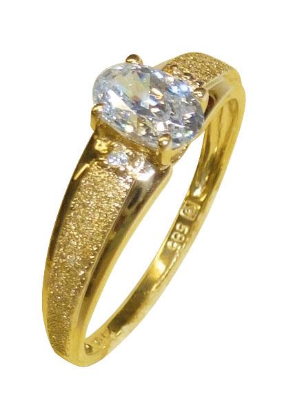 Ring in Gelbgold 585/- poliert und diama...