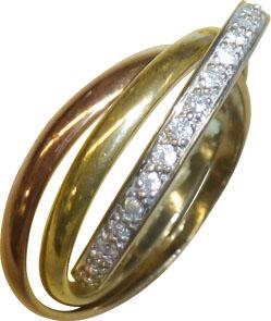 Goldring, wunderschöne Goldringe in feinem Gelbgold/Rotgold und Weißgold 333/- 3 Ringe ineinander beweglich, in Größe 19mm, verziert mit 37 funkelnden Diamanten 8/8 W/P, Breite 2,3mm, Stärke 1,0mm, In Spitzenqualität von Deutschlands günstigstem und größt