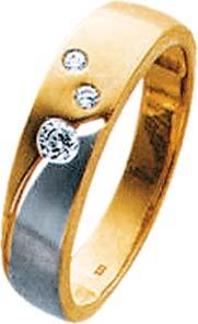 Ring in 8 Karat Gelbgold-/ Weißgold 333/-, mit 3 weissen funkelnden Zirkoniasteinen. In den Größen 16 – 20 mm erhältlich. Die Oberfläche ist  poliert und mattiert im Bicolorlook. Edel im Design und ein absolutes Schmuckstück aus dem Hause Abramowicz. Die