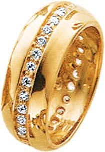 Goldring in Gelbgold 8 Karat, mit 31 Zirkoniasteinen weiss, rundum gefasst, in den Größen 16 – 20 mm erhältlich