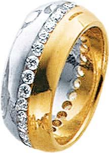 Ring in 8 Karat Gelbgold-/ Weißgold  mit 31weissen funkelnden Zirkoniasteinen, rundum gefasst. Erhältlich in den Größen 16 – 20 mm. Mit gleichbleibender Ringschiene.  Topdesign zum Toppreis aus dem Hause Abramowicz.  Die Nr.1 für Gold, Silber und Edelstei