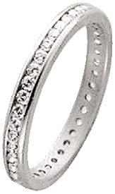 Memoire Ring in Weissgold 333 mit über 40 rundumgefassten funkelnden Zirkonia
