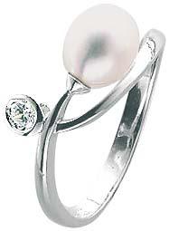 Ring in Weißgold 8 Karat 333/- mit traumhafter Süßwasserzuchtperle und weissem diamantfunkelnden Zirkoniastein. Ein sehr elegantes Schmuckstück. Erhältlich in den Größen 16 – 20 mm.  Topdesign zum Toppreis aus dem Hause Abramowicz, die Nr.1 für Gold, Silb
