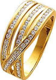 Goldring, Ring aus 8 Karat Gold, mit 50 Zirkonia